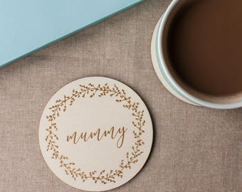 Plywood Engraved Coaster for Mummy // Mothers Day Gift // Gift for Mummy // Berry Wreath // Hand Illustrated