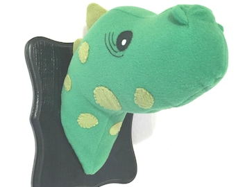 Stuffed Dinosaur Head / Stuffed Animal Head / Faux Animal Head / Stuffed Green Dinosaur / Unique Easter gifts