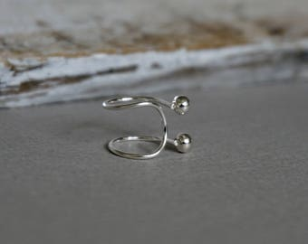 Sterling Silver Ball Ear Cuffs, Ear Cuff, Cartlidge Cuff, 925 Sterling Silver