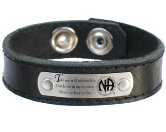 NA Narcotics Anoymous 3rd Step Prayer Leather Bracelet Free US shipping