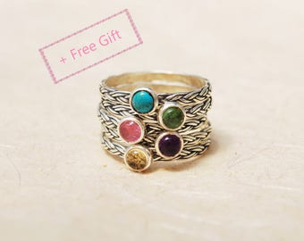 Personalized Family Ring - stackable birthstone rings, Personalized birthday gift for mom, Personalized anniversary gift for her