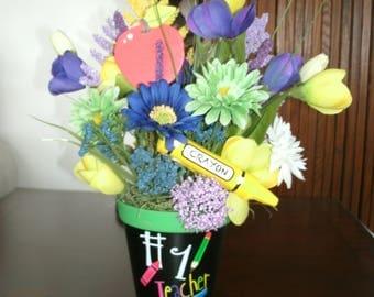 Spring Teacher's Centerpiece, Table Floral Arrangement, Teacher's Gift, Seasonal Table Decor, Home Decor, Office Decor, Teachers Desk Decor,