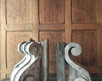 Pair Of Antique Wood Corbels, Unique Chippy Paint Wood Corbels, Architectural Salvage Corbels