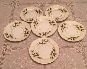 Free Shipping Narumi  Fine China Japan Shasta Pine Pattern 5012  Mid-Century 6 Bread and Butter Plates