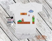 Super Mario Brothers 8 Bit Retro Baby Onesie Bodysuit or Toddler Shirt - Great baby shower gift for baby girls or boys