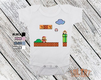 Bodysuit or Toddler Shirt, Super Mario Brothers, 8 Bit Retro Baby Bodysuit, Baby Shower Gift, Girls, Boys
