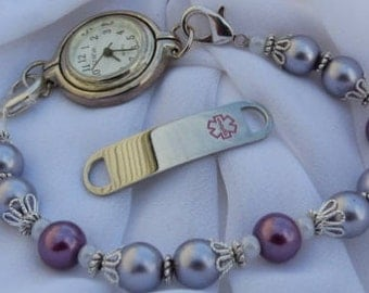 Interchangeable Medical ID and Watch Bracelet Stretchy Bracelet