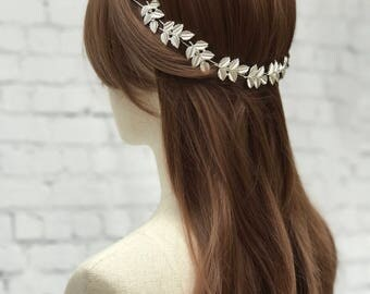 Silver Leaf Bridal Headpiece, Wedding Headpiece, Bridal Headpiece, Grecian Headpiece, Silver Wedding Hair Accessory,Leaf Hair Vine Headpiece
