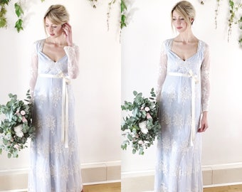 CLAUDIA - boho long sleeve lace wedding dress, bridal gown, powder blue, simple wedding dress, full length UK sz 8/10 Ready to wear