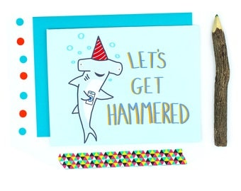 Funny Birthday Card - Best Friend Gift - Beer - 21st - Card For Boyfriend - Animal - Shark - Funny Bday Card - Just Drunk - Graduation Card