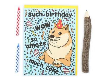 Doge Card, Funny Birthday Card, Dank Memes, Shiba Inu, Dog Lover Gift, Internet Joke, Wow, Pattern, Polka Dots, Cute Gift, Celebration, Fun