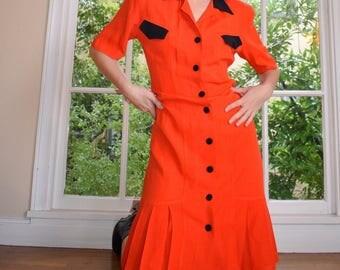 80's Emergency Orange Pleated Dress
