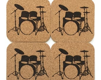 Drum Set Cork Coaster Set