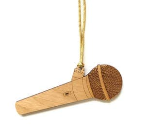 Personalized Wood Microphone Ornament