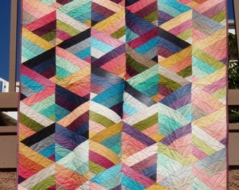Ombre Prism Multi Colored Handmade Finished Quilt 45 x 55 1/2 Inches