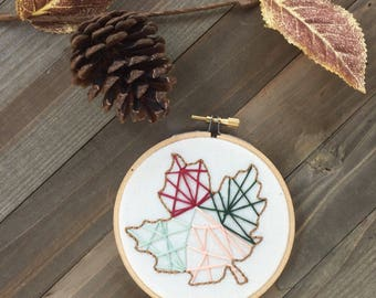 Fall Geometric Leaf Embroidery Hoop Art/Hand Embroidery/Embroidery/Autumn Wall Decor/Fall Home Decor/Modern Embroidery/Fall Embroidery