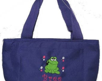 Free Shipping - Personalized Frog Lunch Bag - More Colors - monogrammed - NEW