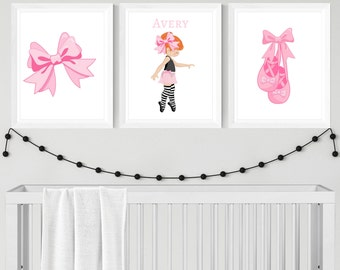 Ballerina Nursery Printable Art, Custom Digital Print, Set of 3, CUSTOM Download Digital File 8x10 Digital Print