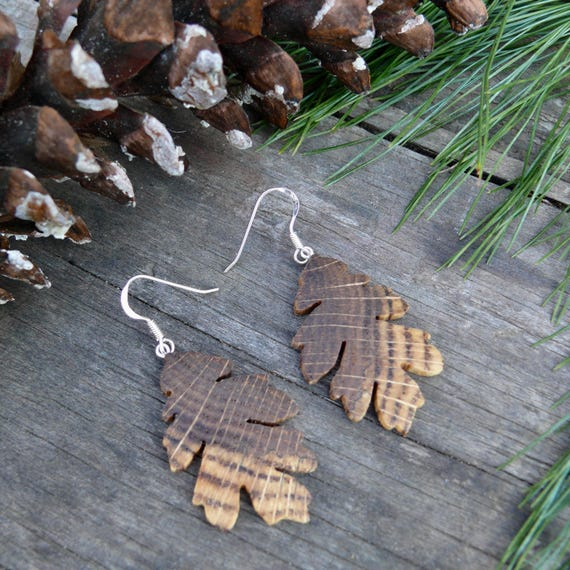 Wood Earrings, Oak Leaf, Sterling Silver leaf earrings, Natural jewelry, Boho wooden earrings, Leaf Jewelry earrings, earthy earrings