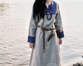 SALE Early Medieval linen underdress gown, Natural non-dyed and dark blue  SIZE S, M, L,  100% linen. Viking costume, reconstruction.