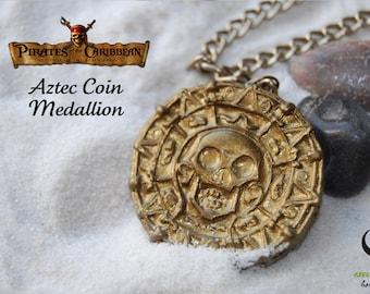 Pirates of the Caribbean necklace | Aztec Coin Medallion | Jack Sparrow pendant | Disney accessories | Disney necklace | Handmade