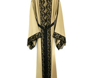 Silk kimono, full length robe, gold Kimono jacket, silk dressing gown, in a heavy weight pure silk
