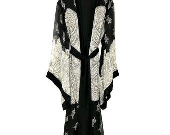 Silk kimono robe, kimono robe, silk kimono jacket, silk robe, floral silk robe, chiffon kimono, full length kimono, black silk kimono