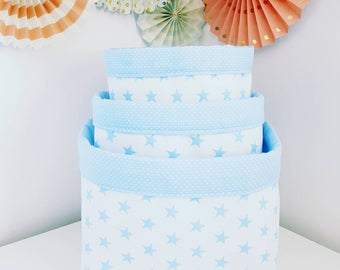 Fabric storage basket, stars baby blue and white. Organizer, container. Nappy basket, toy storage, nursery decor, kids room.