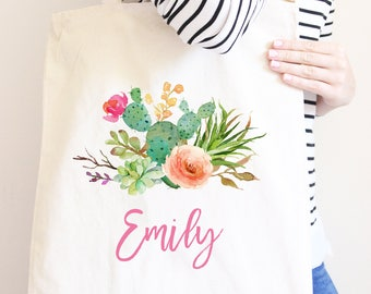 Personalized Canvas Tote Bag, Boho Cactus Flowers