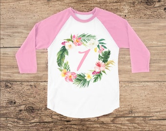 Seven Year Old Birthday Shirt, Tropical Wreath