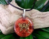 Orgone Pendant - Carnelian - Butterfly - Metaphysical Amulet and Talisman - Sacral Chakra Balance - Healing Crystal Pendant - Medium