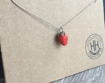 Handmade Ceramic Strawberry Pendant, Adjustable Cord, Long Layering Necklace, Gardener Farmer Homestead Gift, Casual