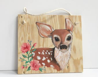 Floral Fawn Wall Hanging, Hand Painted Plywood Sign, Strung with Rope for Easy Hanging, Reclaimed Wood, Baby Deer, Nursery Room Decor