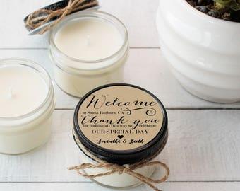 Wedding Favor Candles - Welcome Label Design - Thank You Wedding Favors | Wedding Welcome Bag Favors | Soy Candle Favor | Set of 12
