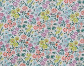 Liberty fabric Tana Lawn Silver Bells  - 5x10'' piece-  green,lime,lilac -  The Little Land of Rhyme Collection