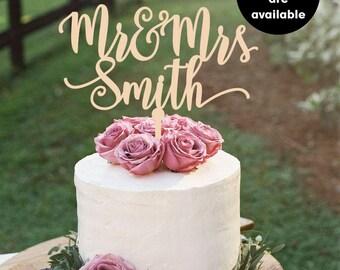 Surname cake topper, Custom Wedding Cake Topper, Personalized Cake Toppers, Mr and Mrs Cake Topper, gold Cake Topper, Glitter, Silver CT-007