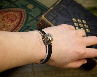 Steampunk Watchwork Bracelet Wristband Genuine Leather Bracelet Bronze Brass Gears Watch Gear Bracelet Upcycled Jewellery Recycled Gears