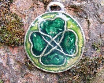 Lucky Celtic Irish Four Leaf Clover Bronze & Resin Pendant Spiritual by the Green Man