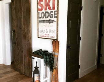 Ready to ship! Ski lodge 24x36 with walnut stained wood frame