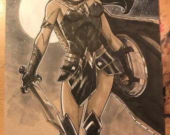 DC Comics Wonder Woman illustration by artist Tom Hodges