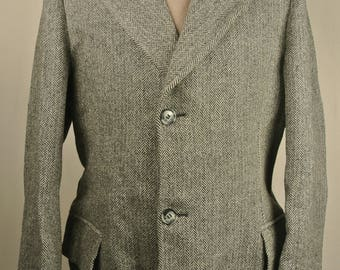 1970's Northern Aire Charcoal Herringbone 100% Wool Three Button Overcoat Size: 40