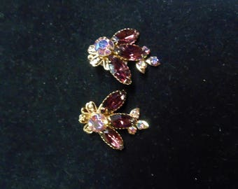 Purple and Aurora Borealis Clip Earrings, 1950s