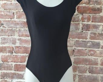 M / Shiny Black Bodysuit / 80s One Piece Bodysuit / Leotard
