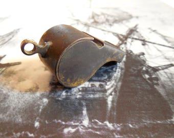 Brass Military Whistle ~ Vintage Militaria Old Cork Ball & Flat Eyelet Military Memorabilia   / 0693