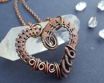 Heart Jewelry Gift, Boho Heart Necklace, Boho Jewelry, Gifts for Women, Handmade Heart Necklace, Handmade Wirewrapped Jewelry, Wire Wrapped