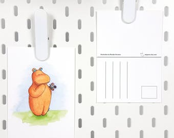 Thinking of you card -A6 postcard flowers hippo illustration -cute greeting card just because -thank you card watercolor animal illustration