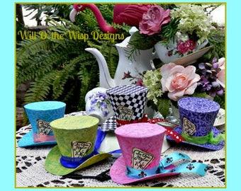 "2.5"" Alice in Wonderland Mini Top Hats-Set of 5-Favors-photo props-Wedding-Tea Party-Birthday-Shower-Quinceanera-"