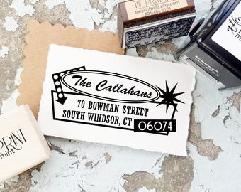 Custom Address Stamp, Retro Return Address Stamp, Custom Self-Inking Address Stamp, 1950's Style, Vintage Stamps, CS-10322