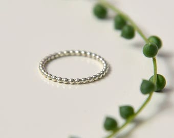 Beaded ring, sterling silver dotted ring, stacking knuckle ring