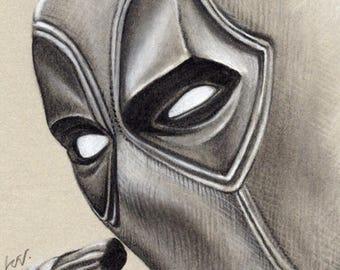 Deadpool - Original Framed Charcoal Artwork